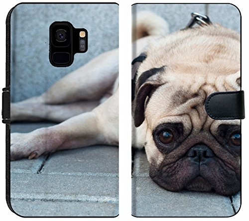 (Liili Premium Samsung Galaxy S9 Flip Micro Fabric Wallet Case Image ID: 15379605 Sad Purebred Pug Dog Lying on Blocks Outdoors and Looking at)
