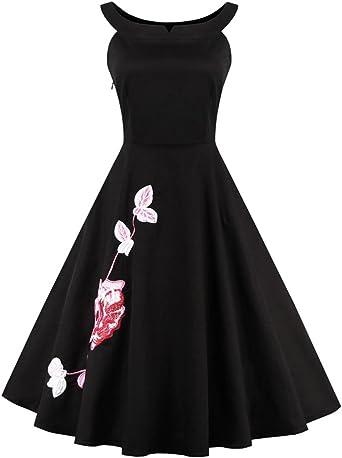 VKStar® Vestido de cocktail para mujer, de color negro, diseño ...
