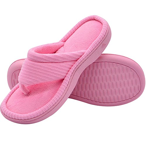- Wishcotton Women's Classic Memory Foam Spa Thong House Shoes Fluffy Flip Flop Slippers (L, Pink)