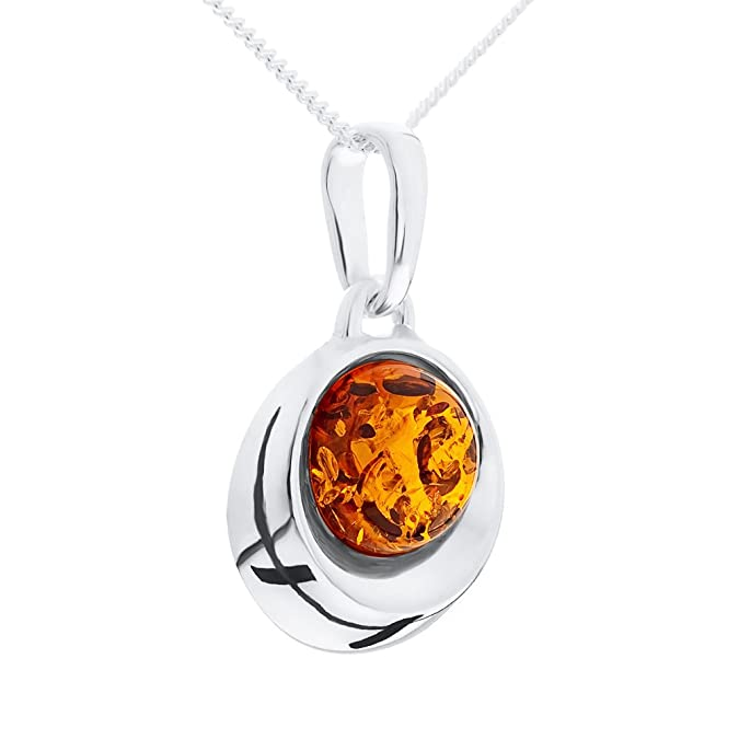 Ornami Sterling Silver Amber diamond shape pendant on 46cm curb pQg3w