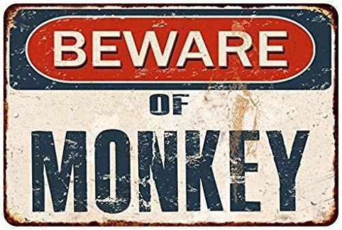 HarrodxBOX Beware of Monkey Rustic Distressed Look Hi Gloss Decorative Metal Signs for Women Wall Post Tin Sign Present