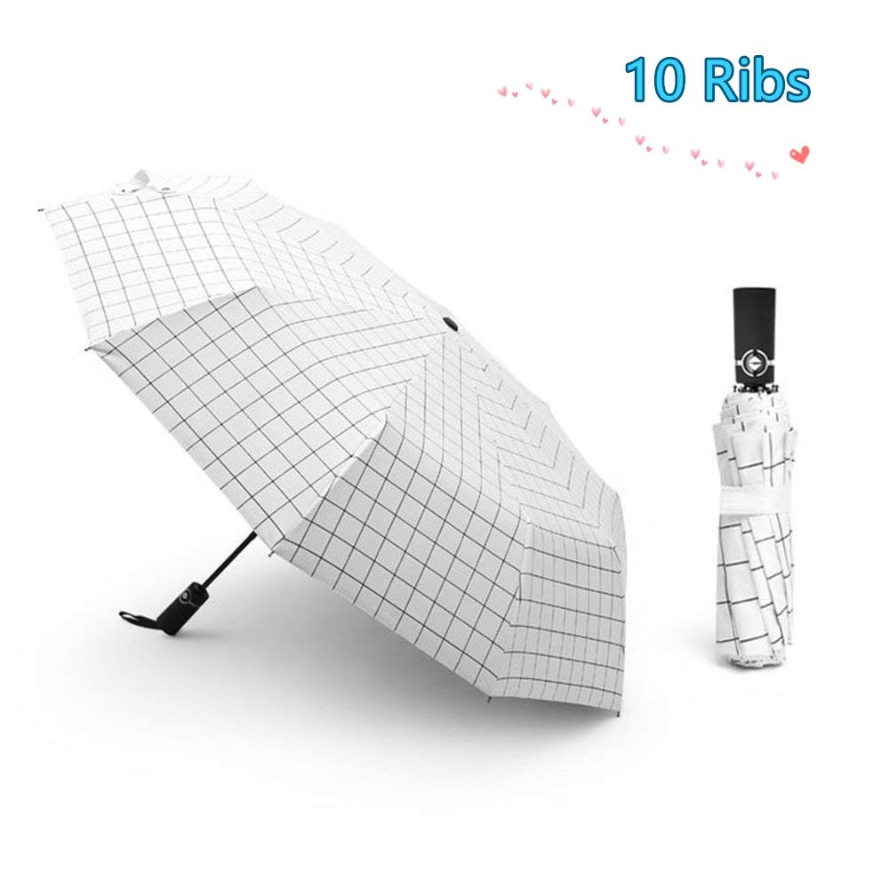 xrime Automatic Umbrella10 Ribs Windproof - Giwil Folding Umbrella with 210t Fabric Teflon One Hand Operation Lightweight and Compact, for Outdoor Travel Fast Drying Black