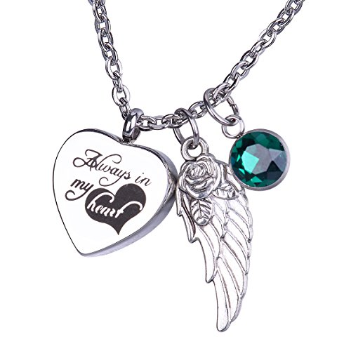 BS Heart Urn Keepsake with May Birthstone Angel's Wing Pendant Necklace Memorial Ash Cremation Jewelry - Always in My Heart ()