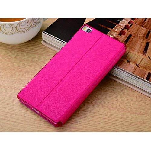 Custodia Pelle Magnetica Protettiva Pu Flip Chiusa 2017 Stand Portafoglio Rose P8 Red Cover Case Con Bookstyle Huawei Per In WO6pnE8X