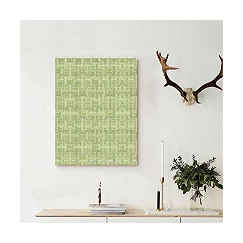 Liguo88 Custom canvas Geometric Complex Detailed Nested Sqare and Line Pattern on Green Background Wall Hanging for Pistachio Green and - Fashion Sqare