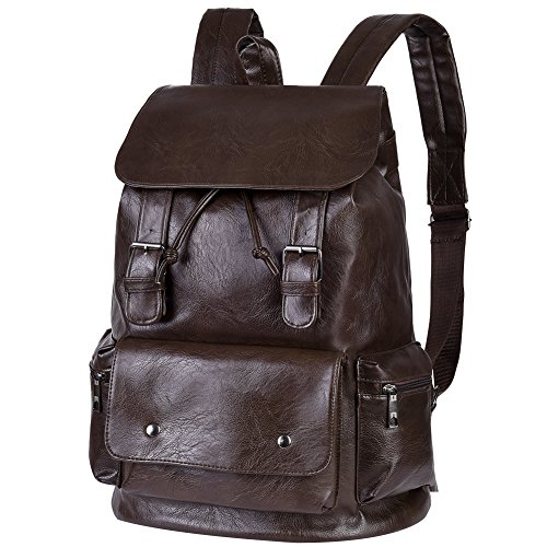 Vbiger Unisex PU Leather Laptop Backpack Large-capacity Casual Daypack Multi-purpose Drawstring Shoulders Bag with Multiple Pockets and Drawstring Opening, Suitable for Men and Women (Brown)