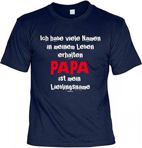 T-Shirt Vater - Papa ist mein Lieblingsname - Geschenk Idee mit Humor zum Vatertag oder Geburtstag - navyblau