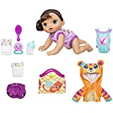 Baby Alive Baby Go Bye Bye Brunette Doll with Bonus Tiger Hoodie Outfit & Accessories