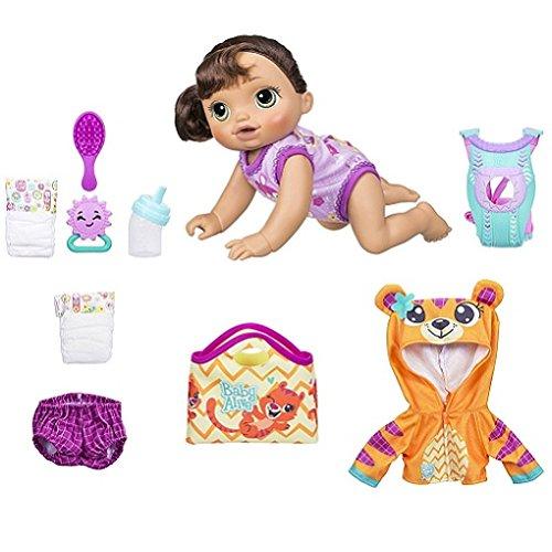 Baby Alive Baby Go Bye Bye Brunette Doll with Bonus Tiger Ho
