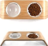 Elevated Dog & Cat Feeder by Fox & Fern - 4'' Raised Pet Bowls Stand from Bamboo Wood - Cats and Dogs Feeding Station - Whisker Fatigue Proof - Mid Century Modern - Smooth Version