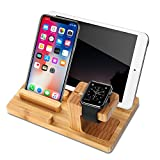 Apple Watch Stand Wood Charging Dock Station with 4-Port USB, Yome Multi-Device Organizer Stand Cradle Bamboo Holder for iWatch iPhone iPad Tablets Smart Phones