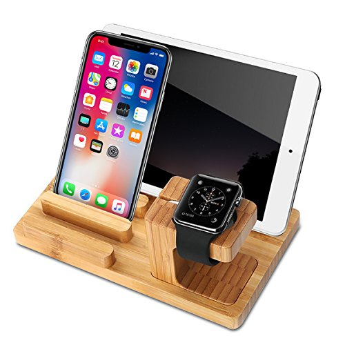 Apple Watch Stand,Bamboo Wood Charge Dock Holder for Apple Watch & Multi Port USB Docking Station Cradle phone Stand Holders for Apple Watch & Iphone & Tablet & Ipad (Iphone Ipad Docking)