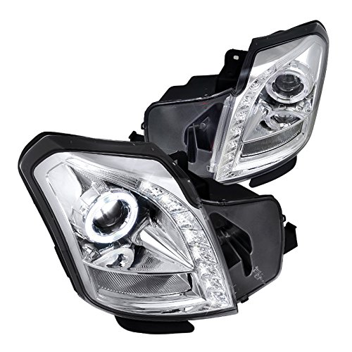 Spec-D Tuning LHP-CTS03-RS Cadillac Cts Base Luxury Sport Sedan 4 Dr, Chrome Halo Led Projector Headlights (Cadillac Cts Halo Headlights)