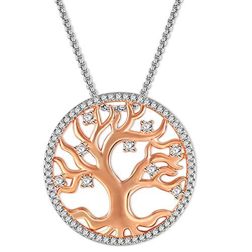 White Gold Round Locket - Angelady Tree of Life Pendant Necklace for Women with 18+2.36inches Box Chains, Rose Gold Dia.1in/25mm Round Pendant Necklaces with White Jewelry Gift Box for Mum Grandma
