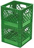 Buddeez MC01016G355 Milk Crates, 16-Quart, Medium Green, 2-Pack