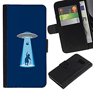 NEECELL GIFT forCITY // Billetera de cuero Caso Cubierta de protección Carcasa / Leather Wallet Case for Sony Xperia Z3 Compact // Alien Abduction divertido