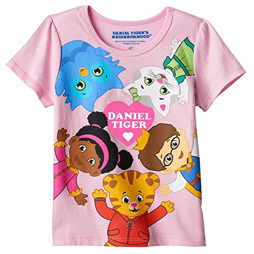 Daniel Tiger Girls Short Sleeve Tee (3T, Daniel Tiger Pink) (Tiger Toddler)