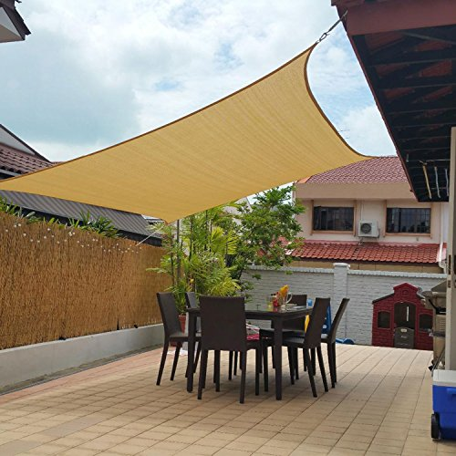 (10' x 13' Sun Shade Sails Canopy Rectangle Sand, 185GSM Shade Sail UV Block for Patio Garden Outdoor Facility and Activities)
