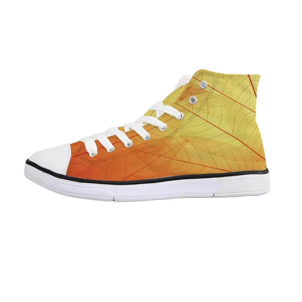Orange Comfortable High Top Canvas ShoesAutumn Nature Fall Season Themed Dried Leaves with Skeleton Vivid Veins Close Up Decorative for Women Girls,US 5