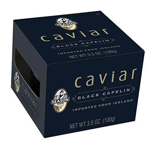 Season Black Capelin Caviar from Iceland, 3.5-Ounce Glass Jars (Pack of 4)