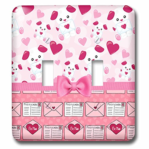 - 3dRose Anne Marie Baugh - Designs - Cute Puppies Carrying Love Letters Over Heart Envelopes With Bow - Light Switch Covers - double toggle switch (lsp_282956_2)