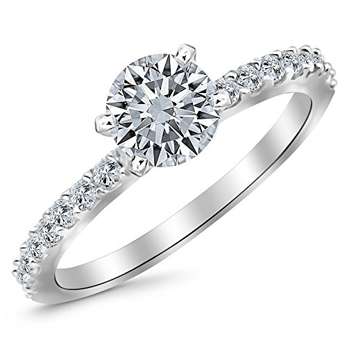 14K White Gold 0.67 CTW Round Cut Classic Side Stone Pave Set Diamond Engagement Ring, H-I Color I1 Clarity, 0.37 Ct Center (Pave Set Jewelry Diamond)