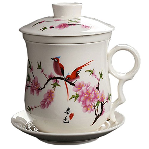 White Blossom Peach Tea (BandTie Convenient Travel Office Loose Leaf Tea Brewing System-Chinese Jingdezhen Blue and White Porcelain Tea Cup Infuser 4-Piece Set with Tea Cup Lid and Saucer (Peach Blossom))