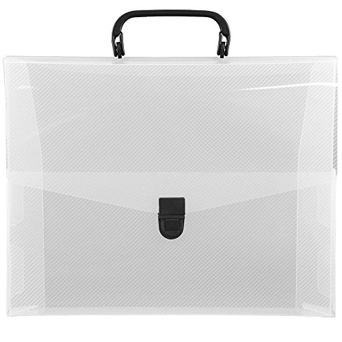 JAM PAPER Plastic Portfolio Briefcase with Handles - 12 x 9 1/2 x 1 1/2 - Clear - Sold Individually