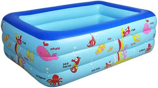 Configuración de colocación Simple Centro de natación Salón Familiar Rectangular Familia Niños Niños Adultos Piscina Infantil Hinchable Casa para bebés de Tres Pisos 130 * 85 * 55 con Bomba: Amazon.es: Jardín