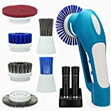 Belle Handheld Electric Power Scrubber Household Cordless Multifunctional with 2 Rechargeable Batteries 6 Metal & Plastic Brushes and 1 Pad