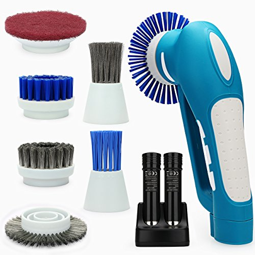 Scrubber,Grips Electric Grill Brush with 2 Rechargeable Batteries 6 Metal & Plastic Brushes for Bathroom, Floor,Wall,Kitchen ()