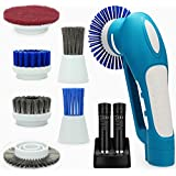 Belle Electric Spin Scrubber,Grips Electric Grill Brush with 2 Rechargeable Batteries 6 Metal & Plastic Brushes for Bathroom, Floor,Wall,Kitchen