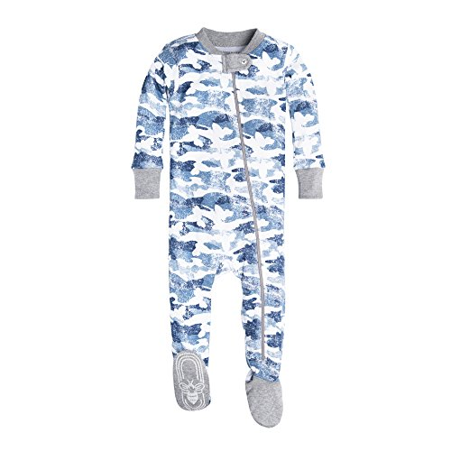 Burt's Bees Baby Baby 1-Pack Unisex Pajamas, Zip-Front Non-Slip Footed Sleeper PJs, Organic Cotton, Blue Distressed Camo, 12 ()