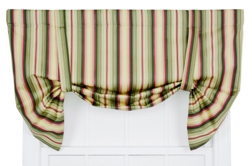 Up Valance Lined Tie - Ellis Curtain Mateo Medium Scale Stripe Print Lined Tie-Up Valance, 50 by 30-Inch, Basil