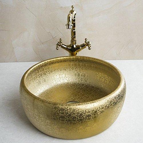 GOWE Luxy Round Paint Golden Bowl Sinks / Vessel Basins With Washbasin Ceramic Basin Sink & Polished Golden Faucet Tap Set 0