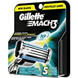 Gillette Mach3 Refill Cartridges, 5 Count- Packaging May Vary