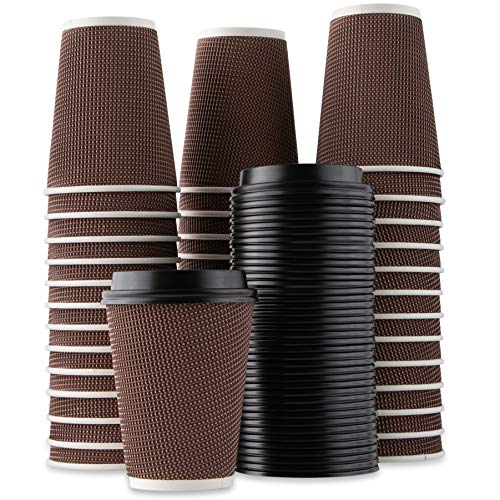 Party Bargains Rippled Hot Cups with Lids | Insulated Double Walled, No Sleeve Needed Disposable Paper Cup for Coffee or Tea | Perfect for To-Go Travel Mug, Parties and More | Size 12 Ounce | 40 Count -