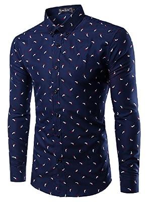 Mada Mens Casual Shirts Long Sleeve Slim Fit Dress Shirt