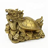 Feng Shui Brass Bagua Dragon Tortoise on the Coin Statue Figurine W Fengshuisale Red String Bracelet M4001