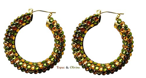 Rhinestone Hoop Earrings (Olivine & Topaz)