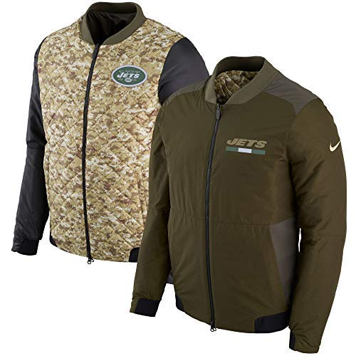 Nike Mens NY Jets Salute to Service Reversible Bomber Olive/Camo 888699-325 (Medium)