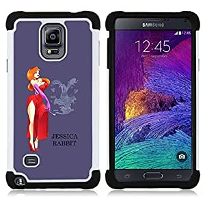 GIFT CHOICE / Defensor Cubierta de protección completa Flexible TPU Silicona + Duro PC Estuche protector Cáscara Funda Caso / Combo Case for Samsung Galaxy Note 4 SM-N910 // Lady Cartoon Character Red Dress //