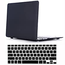"iZi Way Case for Mac Air 13"" - Smooth Finish Soft-Skin Ultra Slim Plastic Rubber Coated Frosted Case + Black Keyboard Protector for Macbook Air 13 Inch (Model: A1369 and A1466) - Black"