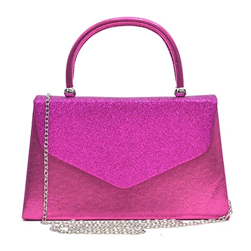 Pink Handbag Purse (Dasein Women's Evening Bags Formal Party Clutches Wedding Purses Cocktail Prom Handbags with Frosted Glittering (Hot Pink))
