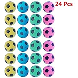 PetFavorites trade; Foam/Sponge Soccer Ball Cat Toy Best Interactive Cat Toys Ever Most Popular Independent Pet Kitten Cat Exrecise Toy balls for Real Cats Kittens, Soft/Bouncy/Noise Free, 24 Pack.