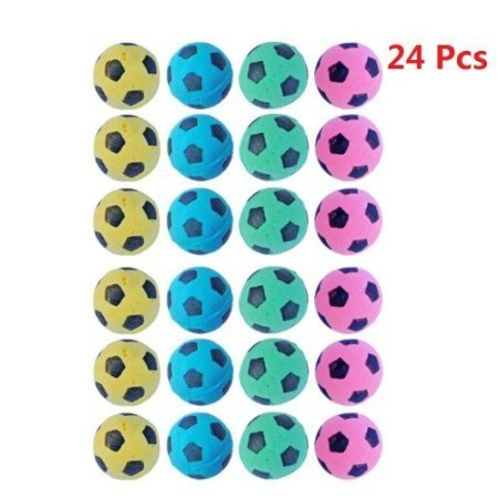 PetFavorites Foam Sponge Soccer Ball Cat Toy Interactive Cat Toys Independent Pet Kitten Cat Exrecise Toy Balls for Fat Cats Kittens, Soft, Bouncy and Noise Free, 24 Pack.]()