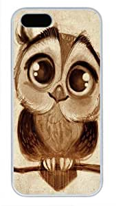 Protective PC Case Skin for iphone 5 White Fashion PC Case Back Cover Shell for iphone 5S with Doodles Cute Owl