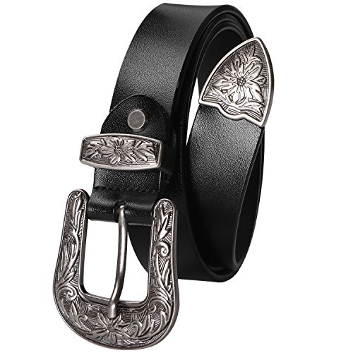 "Women Leather Belt Black Ladies Vintage Jeans Belts Leather with Unique Solid Buckle Fits 28""-34"" Waist Belt Black"