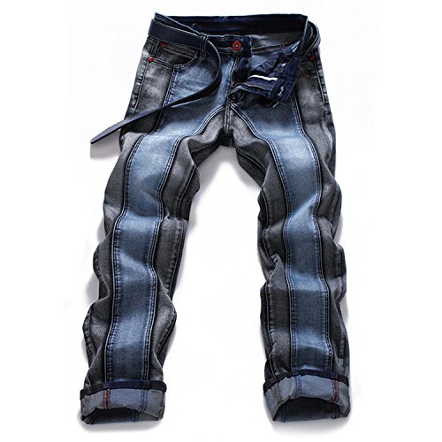 Phillip Dudley New Mens Harajuku Stripe Denim Jeans Casual Biker Slim Straight Pants Designer Splice Jeans Dark Blue 44 by Phillip Dudley