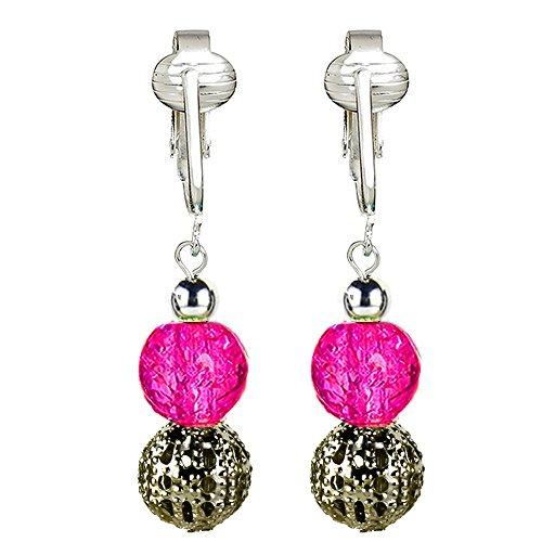 (Valentines Heart Clip On Earrings for Women, Red Valentine Clip Earrings Clip On Earrings Heart Earrings (Hot Pink Filigree))